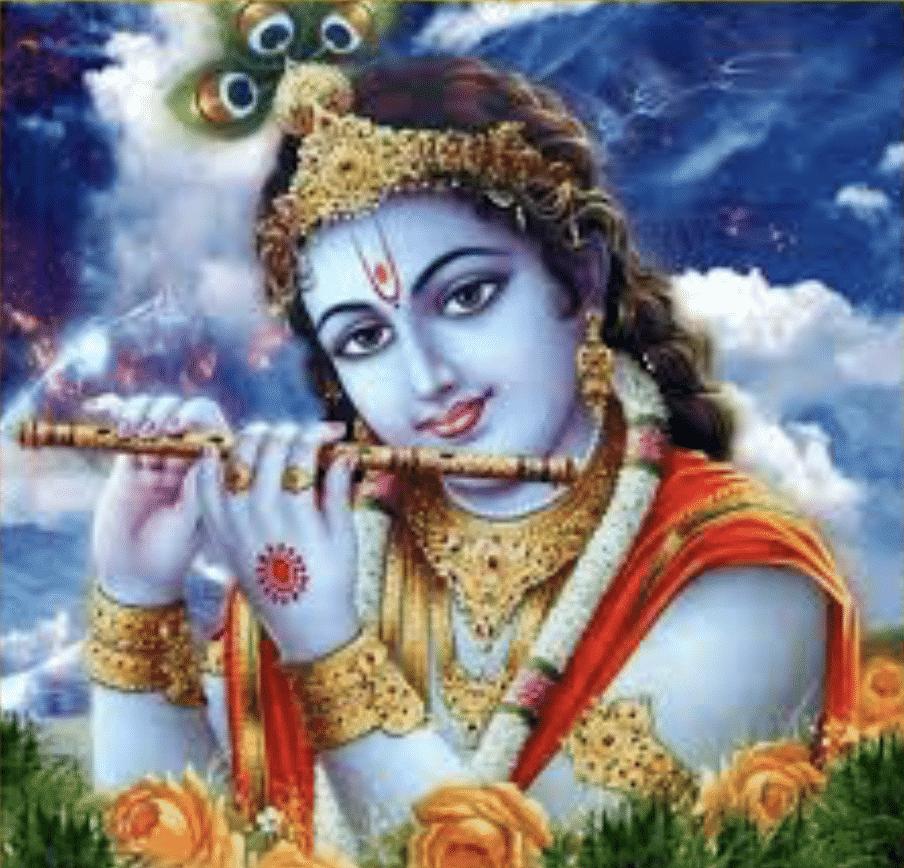 Krishna jouant de la flûte