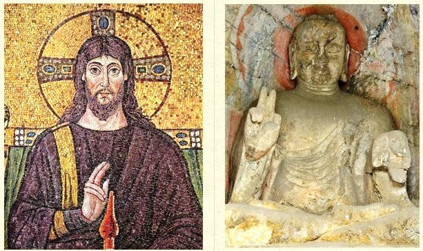 ardhapataka mudra-Christ sur une mosaïque-ravenna-Italie