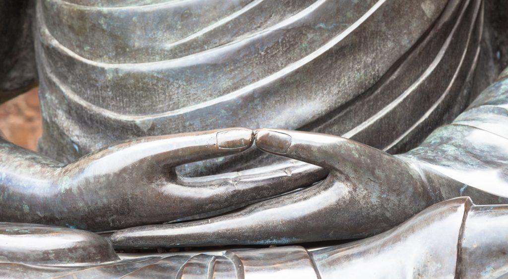 Dhyani mudra-Dhyana mudra-détail d'une statue de Bouddha